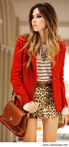 Love the blazer and shirt. I don't particularly like the animal print though.
