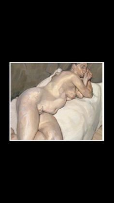 "Lucian Freud - "" Naked woman on a sofa "", 1984/1985 - Oil on canvas - 50,8 x 60 cm"