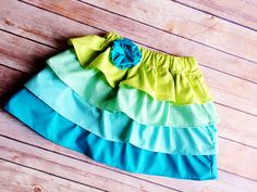 Green to turquoise ombre little girl skirt 3T ready to ship by PaisleyPockets on Etsy