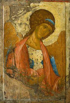Andrei Rublev ~ Archangel Michael, Zvenigorod, 1414 Byzantine Art, Byzantine Icons, Russian Icons, Russian Art, Religious Icons, Religious Art, Andrei Rublev, Arte Latina, Biblical Art