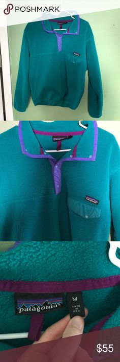 Patagonia fleece pullover Turquoise Patagonia pullover with purple accents. In great condition, very soft. Patagonia Jackets & Coats