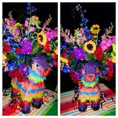 Burrito piñata center piece. Flower arrangement. Colorful.