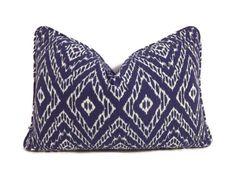 Blue Lumbar Pillow-Robert Allen Strie Ikat Ultramarine Pillow Cover-Blue and White Ikat Pillow- Modern Blue Pillows