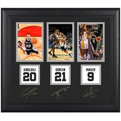 Mounted Memories San Antonio Spurs Tim Duncan, Tony Parker, and Manu Ginobili Framed Collectible
