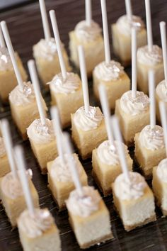 Cheesecake bites on a stick - wedding food - wedding finger food