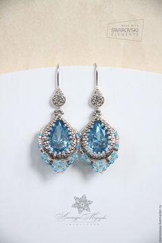 """Купить Серьги с кристаллами Swarovski """"IceAqua"""" - голубой, аквамарин, серьги с кристаллами, серебряные серьги"""