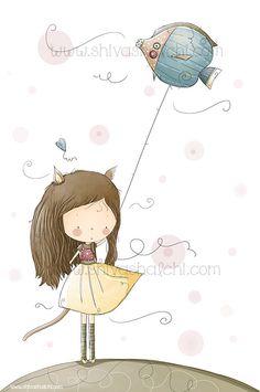 Parete arte illustrazione - Kitty Girl, pesce palloncino di ShivaIllustrations su Etsy https://www.etsy.com/it/listing/159225007/parete-arte-illustrazione-kitty-girl