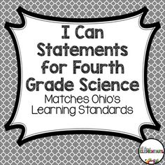 ohio fourth grade science i can statements