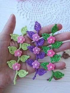 Flowers on the branch PATTERN ! PDF Skill level-Beginner - Photo tutorials - Diagram INSTRUCTION IS NOT WRITTEN ! This product is an electronic file so the return can not be! You may not sell, copy, or distribute this product. You can sell and distribute Crochet Small Flower, Crochet Flower Tutorial, Crochet Flower Patterns, Crochet Motif, Crochet Designs, Crochet Flowers, Crochet Stitches, Irish Crochet, Crochet Crafts
