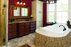 Luxurious soaking from the master bath in plan 990, The Hollingbourne! http://www.dongardner.com/plan_details.aspx?pid=2670. #Master #Bathroom #SoakingTub