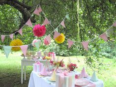 festive garden wedding reception decoration idea