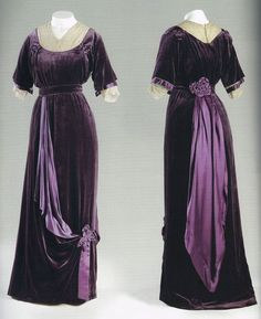 Afternoon dress, Silk velvet, silk satin, silk lace by Jeanne Paquin, France. Henry A. Jeanne Paquin, 1900s Fashion, Edwardian Fashion, Vintage Fashion, Club Fashion, French Fashion, Emo Fashion, Ladies Fashion, Style Fashion