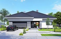 Modern Family House, Best Modern House Design, Modern Bungalow House, Bungalow House Plans, Minimalist House Design, Craftsman House Plans, Village House Design, House Front Design, Affordable House Plans