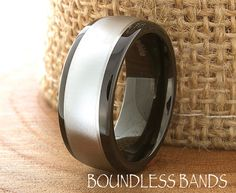 Two Tone Wedding Band Tungsten Ring Customized by BoundlessBands