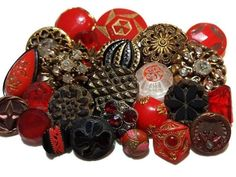 Red, black and gold antique and vintage button lot.