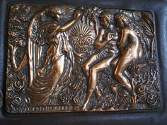 Adam and Eve vintage COPPER PHOTO ALBUM embossed picture Garden of Eden repousse scrapbooking Baptism Valentine gift Religious collectible
