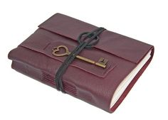 Burgundy Leather Journal with Heart Key Bookmark by boundbyhand, $33.00