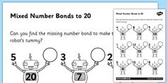 With this worksheet, you can easily teach number bonds to The robot theme makes the activity more fun & students can revise lessons on number bonds to What Are Number Bonds, Number Bonds Worksheets, Robot Theme, Addition Facts, Fact Families, Learning Numbers, Math Facts, Math For Kids, Kids Learning
