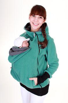 Tragetücher & Mei Tai - 3-in-1 Fleece Tragejacke in mint Pünktchen - ein Designerstück von AgnesH bei DaWanda