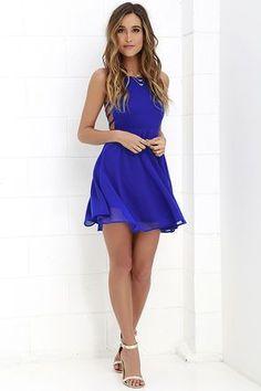 Good Deeds Royal Blue Lace-Up Dress at Lulus.com!