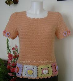 Magia do Crochet: Vestido em crochet para menina - riscas coloridas