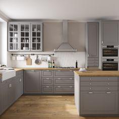 Ikea bodbyn 3D - TurboSquid 1195775 Ikea Bodbyn Kitchen, Grey Ikea Kitchen, Ikea Kitchen Cabinets, Grey Kitchens, Kitchen Reno, New Kitchen, Home Kitchens, Kitchen Dining, Kitchen Remodeling