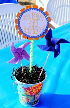 Phineas and Ferb Birthday Party - Kara's Party Ideas - The Place for All Things Party 5th Birthday Boys, 6th Birthday Parties, Birthday Ideas, Phineas Und Ferb, Rainbow Lollipops, How To Make Banners, First Birthdays, Party Ideas, Centerpieces
