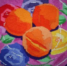 Great colors!  Tapestry still life with peaches