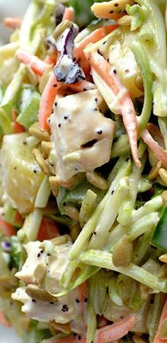 Crunchy Poppyseed Chicken Salad- just need to find a healthy poppyseed dressing recipe.