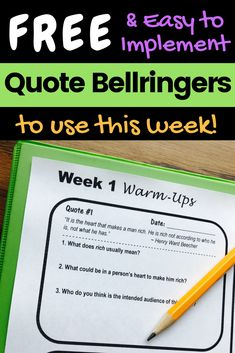"""FREE """"Quote of the Day"""" bellringers for middle school! Get a free week of inspirational quote warm-ups for middle school English, including three higher-level thinking questions per quote. Reinforce reading skills like inference, figurative language, context clues, and more! #middleschool #teacherspayteachers #readingskills #quoteoftheday #bellringers #warmups"""