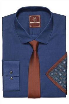 Plain Blue Shirt, Tie And Pocket Square Set