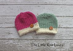 Knit Baby Button Hats