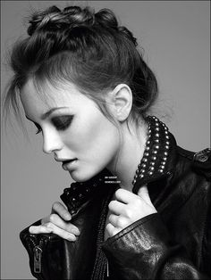 Leighton Meester- this is one of the best photos ever of her!!! Very cool, but still has a feminine touch to it <3 =D!!!!!!