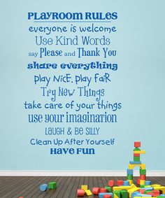 Take a look at this 'Playroom Rules' Wall Decal by Wallquotes.com by Belvedere Designs on #zulily today!