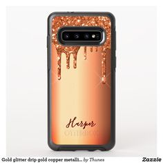 Gold glitter drip gold copper metallic name OtterBox symmetry samsung galaxy case Samsung Cases, Iphone Cases, Samsung Galaxy, Glam And Glitter, Glitter Phone Cases, Drip Painting, Synthetic Rubber, Copper Metal, Metallica