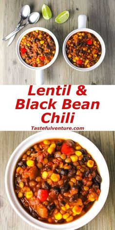 and Black Bean Chili This Lentil and Black Bean Chili is Vegan, Gluten Free, and only has 300 Calories per serving!This Lentil and Black Bean Chili is Vegan, Gluten Free, and only has 300 Calories per serving! Chili Recipes, Veggie Recipes, Whole Food Recipes, Diet Recipes, Cooking Recipes, Healthy Recipes, Gluten Free Recipes Lentils, Healthy Lentil Recipes, Plant Based Dinner Recipes