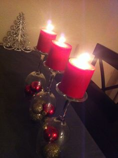 Wine Glass Candle Centerpiece Christmas Decor