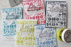 Simon Says Stamp | Nuvo Mousse + Folk Dance Stencil Backgrounds (Set of 5 Cards)