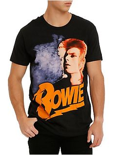 91054550a0a Black T-shirt from David Bowie with large orange haired
