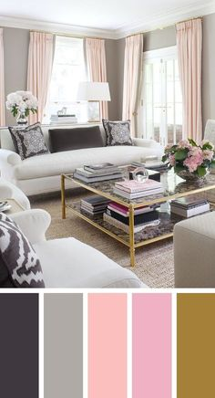 pretty with pink living color scheme ideas