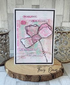 """Mixed media card created using Tracy Evans Stamp Set """"Thankful Petals"""" from AALLandCreate December 11, 8th Of March, Paper Cards, Diy Cards, Mixed Media Cards, Art Journal Pages, Creative Cards, Craft Supplies, Projects To Try"""
