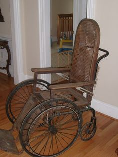 Antique wheelchair-Clifton Hospital 1973.  I lost twin girls.  The hospital still had one of these in use.  Bud pushed me around in it during my hospital stay.