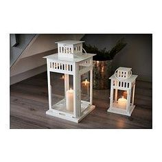 BORRBY Lantern for block candle, white indoor/outdoor white - IKEA - Fill with LED candle, flowers, corks, vase filler, etc for a Centerpiece / Prize at each table