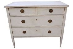 Swedish  Dresser on OneKingsLane.com As described by Lone Ranger Antiques Swedish five-drawer dresser, restored and painted oyster white.