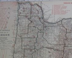 RARE Oregon Map of Oregon with RAILROADS 1927 by plaindealing