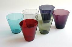 Thin Kartio - Kaj Franck full color 9 ja 12 cl produced in Lassi, Glass Design, Colored Glass, Scandinavian Design, Finland, Shot Glass, Tumbler, Mid-century Modern, Ceramics