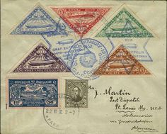9. South America Flight 1932, paraguayische post, cover from Asuncion 22. 10. to St. Louis USA with amongst other things complete set Zeppel...