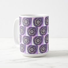 Passion Flower Purple Pattern Coffee Mug - purple floral style gifts flower flowers diy customize unique
