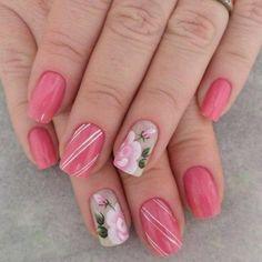 Nail Polish Designs, Nail Art Designs, Summer Gel Nails, Floral Nail Art, Hot Nails, Flower Nails, Fabulous Nails, Manicure And Pedicure, Natural Nails