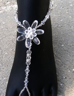 Wedding Barefoot Sandals Crystal Flower Medallion Foot Jewelry anklet. $27.99, via Etsy.
